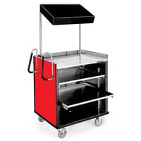 Lakeside 660 4 Shelf Stainless Steel Compact Vending Cart with Red Laminate Finish - 28 1/4 inch x 49 inch x 72 1/4 inch