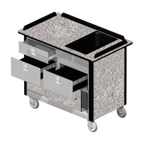Lakeside 69030 Stainless Steel Beverage Service Cart with 3 Drawers and Gray Sand Laminate Finish - 26 inch x 44 1/2 inch x 37 3/4 inch
