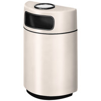 Rubbermaid FGH2436SU Half Round Open Front Sedona Beige Fiberglass Waste Receptacle with Rigid Plastic Liner and Sand Urn Cap Ash Tray 18 Gallon (FGFGH2436SUPLSBG)
