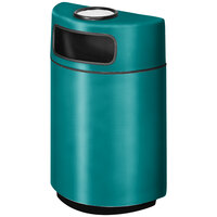 Rubbermaid FGH2436SU Half Round Open Front Sea Green Fiberglass Waste Receptacle with Rigid Plastic Liner and Sand Urn Cap Ash Tray 18 Gallon (FGFGH2436SUPLSGN)