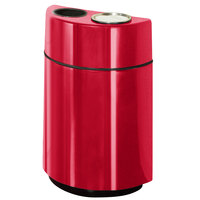 Rubbermaid FGH2436SUT Half Rounds Open-Top Red Fiberglass Waste Receptacle with Rigid Plastic Liner and Sand Urn Cap Ash Tray 24 Gallon (FGFGH2436SUTPLRD)
