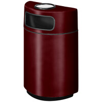 Rubbermaid FGH2436SU Half Round Open Front Burgundy-Wine Fiberglass Waste Receptacle with Rigid Plastic Liner and Sand Urn Cap Ash Tray 18 Gallon (FGFGH2436SUPLBYW)