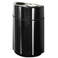 Rubbermaid FGH2436SUT Half Rounds Open-Top Black Fiberglass Waste Receptacle with Rigid Plastic Liner and Sand Urn Cap Ash Tray 24 Gallon (FGFGH2436SUTPLBK)
