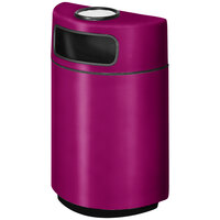 Rubbermaid FGH2436SU Half Round Open Front Bright Plum Fiberglass Waste Receptacle with Rigid Plastic Liner and Sand Urn Cap Ash Tray 18 Gallon (FGFGH2436SUPLBPM)