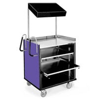 Lakeside 660 4 Shelf Stainless Steel Compact Vending Cart with Purple Laminate Finish - 28 1/4 inch x 49 inch x 72 1/4 inch