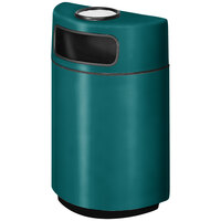 Rubbermaid FGH2436SU Half Round Open Front Forest Green Fiberglass Waste Receptacle with Rigid Plastic Liner and Sand Urn Cap Ash Tray 18 Gallon (FGFGH2436SUPLFGN)
