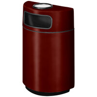 Rubbermaid FGH2436SU Half Round Open Front Maroon Fiberglass Waste Receptacle with Rigid Plastic Liner and Sand Urn Cap Ash Tray 18 Gallon (FGFGH2436SUPLMN)