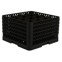Vollrath TR8DDDDD Traex Full-Size Black 16-Compartment 11 inch Glass Rack