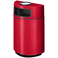 Rubbermaid FGH2436SU Half Round Open Front Red Fiberglass Waste Receptacle with Rigid Plastic Liner and Sand Urn Cap Ash Tray 18 Gallon (FGFGH2436SUPLRD)