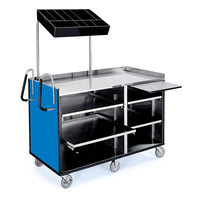 Lakeside 68010 4 Shelf Stainless Steel Vending Cart with Pull-Out Shelves and Royal Blue Laminate Finish - 27 1/2 inch x 60 inch x 70 inch