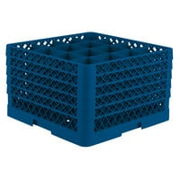Vollrath TR8DDDDA Traex Full-Size Royal Blue 16-Compartment 11 inch Glass Rack with Open Rack Extender On Top