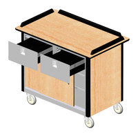 Lakeside 69040 Stainless Steel Beverage Service Cart with 2 Drawers and Hard Rock Maple Laminate Finish - 26 inch x 44 1/2 inch x 37 3/4 inch