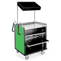 Lakeside 660 4 Shelf Stainless Steel Compact Vending Cart with Green Laminate Finish - 28 1/4 inch x 49 inch x 72 1/4 inch