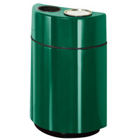 Rubbermaid FGH2436SUT Half Rounds Open-Top Empire Green Fiberglass Waste Receptacle with Rigid Plastic Liner and Sand Urn Cap Ash Tray 24 Gallon (FGFGH2436SUTPLEGN)