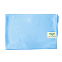 Unger MF40E MicroWipe 16 inch x 16 inch Blue Lite Microfiber High Absorption Window Cleaning Cloth