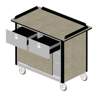 Lakeside 69040 Stainless Steel Beverage Service Cart with 2 Drawers and Beige Suede Laminate Finish - 26 inch x 44 1/2 inch x 37 3/4 inch