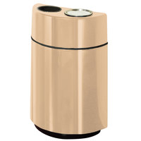 Rubbermaid FGH2436SUT Half Rounds Open-Top Tan Fiberglass Waste Receptacle with Rigid Plastic Liner and Sand Urn Cap Ash Tray 24 Gallon (FGFGH2436SUTPLTN)