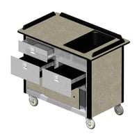 Lakeside 69030 Stainless Steel Beverage Service Cart with 3 Drawers and Beige Suede Laminate Finish - 26 inch x 44 1/2 inch x 37 3/4 inch