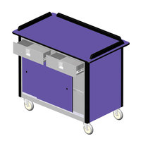 Lakeside 69020 Stainless Steel Beverage Service Cart with 2 Utility Drawers and Purple Laminate Finish - 26 inch x 44 1/2 inch x 37 3/4 inch