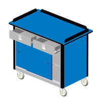 Lakeside 69020 Stainless Steel Beverage Service Cart with 2 Utility Drawers and Royal Blue Laminate Finish - 26 inch x 44 1/2 inch x 37 3/4 inch