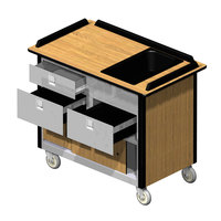 Lakeside 69030 Stainless Steel Beverage Service Cart with 3 Drawers and Hard Rock Maple Laminate Finish - 26 inch x 44 1/2 inch x 37 3/4 inch