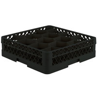Vollrath TR18A Traex Rack Max Full-Size Black 12-Compartment 4 13/16 inch Glass Rack with Open Rack Extender On Top