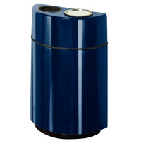 Rubbermaid FGH2436SUT Half Rounds Open-Top Navy Blue Fiberglass Waste Receptacle with Rigid Plastic Liner and Sand Urn Cap Ash Tray 24 Gallon (FGFGH2436SUTPLNBL)