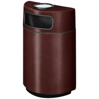 Rubbermaid FGH2436SU Half Round Open Front Dark Brown Fiberglass Waste Receptacle with Rigid Plastic Liner and Sand Urn Cap Ash Tray 18 Gallon (FGFGH2436SUPLDBN)