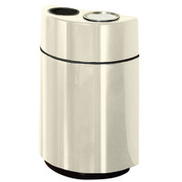 Rubbermaid FGH2436SUT Half Rounds Open-Top Almond Fiberglass Waste Receptacle with Rigid Plastic Liner and Sand Urn Cap Ash Tray 24 Gallon (FGFGH2436SUTPLAL)