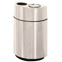 Rubbermaid FGH2436SUT Half Rounds Open-Top Sedona Beige Fiberglass Waste Receptacle with Rigid Plastic Liner and Sand Urn Cap Ash Tray 24 Gallon (FGFGH2436SUTPLSBG)