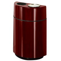 Rubbermaid FGH2436SUT Half Rounds Open-Top Maroon Fiberglass Waste Receptacle with Rigid Plastic Liner and Sand Urn Cap Ash Tray 24 Gallon (FGFGH2436SUTPLMN)