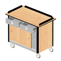 Lakeside 69020 Stainless Steel Beverage Service Cart with 2 Utility Drawers and Hard Rock Maple Laminate Finish - 26 inch x 44 1/2 inch x 37 3/4 inch
