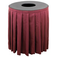 Buffet Enhancements 1BCTV32SET Black Round Topper with Burgundy Skirting for 32 Gallon Trash Cans