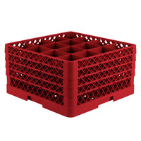 Vollrath TR8DDDA Traex Full-Size Red 16-Compartment 9 7/16 inch Glass Rack with Open Rack Extender On Top