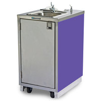 Lakeside 9620 Portable Self-Contained Stainless Steel Hand Sink Cart with Hot Water Faucet, Soap Dispenser, and Purple Finish - 120V