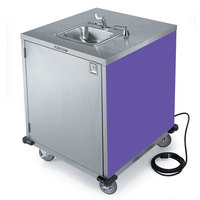 Lakeside 9600 Portable Self-Contained Stainless Steel Hand Sink Cart with Cold Water Faucet, Soap Dispenser, and Purple Finish - 115V