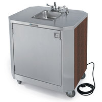 Lakeside 9610 Portable Self-Contained Stainless Steel Hand Sink Cart with Hot & Cold Water Faucet, Soap Dispenser, and Walnut Finish - 120V