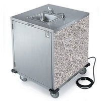 Lakeside 9600 Portable Self-Contained Stainless Steel Hand Sink Cart with Cold Water Faucet, Soap Dispenser, and Gray Sand Finish - 115V