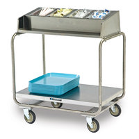 Lakeside 216 Stainless Steel Condiment / Tray Cart with Five 1/4 Size Pans - 34 3/4 inch x 22 1/2 inch x 39 3/4 inch