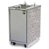 Lakeside 9620 Portable Self-Contained Stainless Steel Hand Sink Cart with Hot Water Faucet, Soap Dispenser, and Gray Sand Finish - 120V