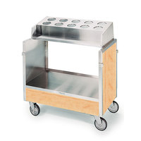 Lakeside 603 Stainless Steel Silverware / Tray Cart with 10 Hole Flatware Bin and Hard Rock Maple Finish - 22 1/4 inch x 36 1/4 inch x 39 3/4 inch
