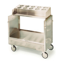 Lakeside 403 Stainless Steel Flatware / Tray Cart with 10 Hole Flatware Bin - 36 1/4 inch x 22 1/4 inch x 39 3/4 inch