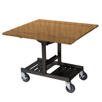 Geneva 74410 Mobile Rectangular Top Tri-Fold Room Service Table with Amber Maple Finish - 36 inch x 43 inch x 31 inch