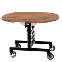 Geneva 74405 Mobile Round Top Tri-Fold Room Service Table with Victorian Cherry Finish - 36 inch x 43 inch x 31 inch
