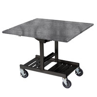 Geneva 74410 Mobile Rectangular Top Tri-Fold Room Service Table with Pewter Brush Finish - 36 inch x 43 inch x 31 inch