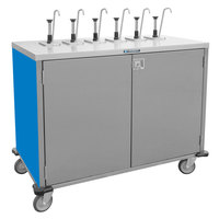 Lakeside 70211 Stainless Steel E-Z Serve 6-Pump Condiment Dispensing Cart with Royal Blue Finish for 3 Gallon Condiment Pouches - 27 1/2 inch x 50 1/4 inch x 48 1/2 inch