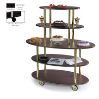 Geneva 37212 5 Oval Shelf Dessert Cart with Ebony Wood Finish - 24 inch x 50 inch x 56 inch