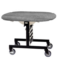 Geneva 74405 Mobile Oval Top Tri-Fold Room Service Table with Pewter Brush Finish - 36 inch x 43 inch x 31 inch