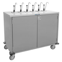 Lakeside 70221 Stainless Steel E-Z Serve 4-Pump Condiment Dispensing Cart for 3 Gallon Condiment Pouches - 27 1/2 inch x 33 inch x 48 1/2 inch