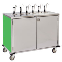 Lakeside 70271 Stainless Steel E-Z Serve 12-Pump Condiment Dispensing Cart with Green Finish for 3 Gallon Condiment Pouches - 27 1/2 inch x 50 1/4 inch x 48 1/2 inch